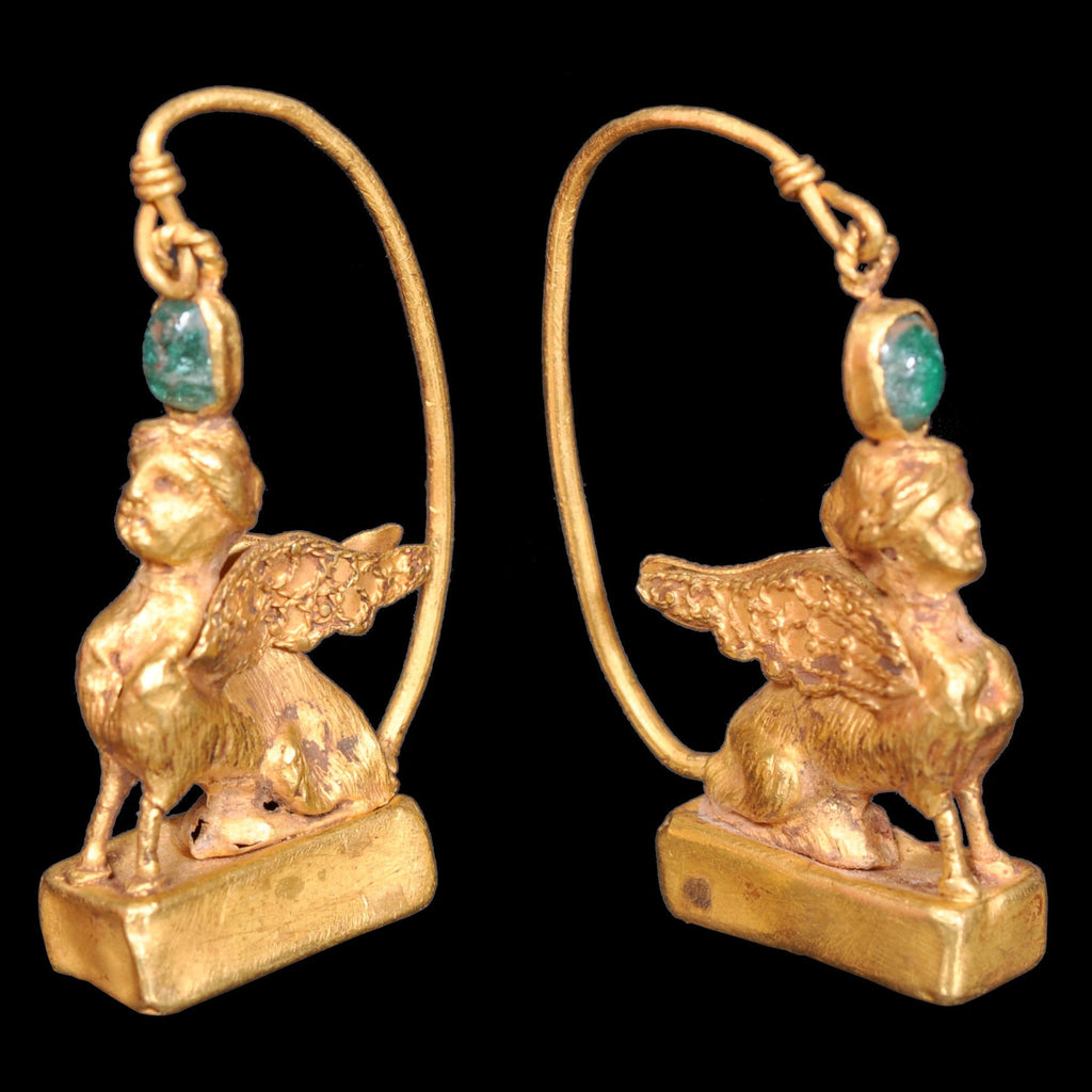 Pair of Ancient Greek Gold Sphinx Earrings, Helenistic Period, circa 3rd-2nd Century BCE