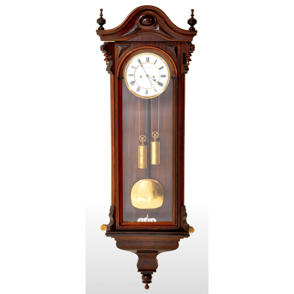 Antique Vienna Regulator/Clock 8-Day Time and Strike Wall Clock by Carl Suchy & Söhne, circa 1890