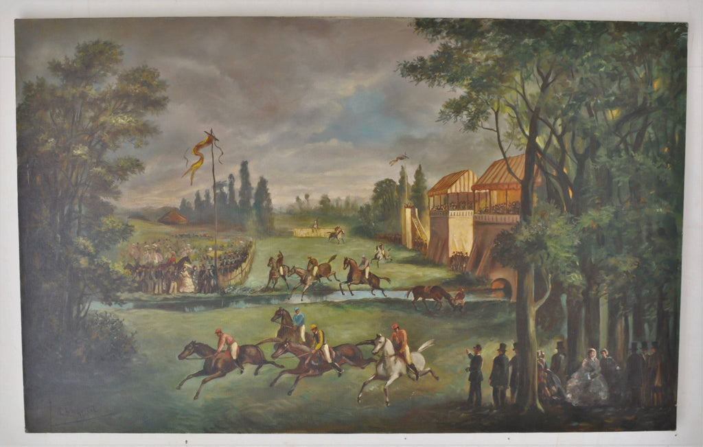 Large Oil on Canvas Painting of a Steeple Chase by the French Artist A. Chapitel