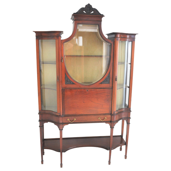 Antique Edwardian Hepplewhite Revival Mahogany Secretary Desk/China Cabinet/Hutch, Circa 1890