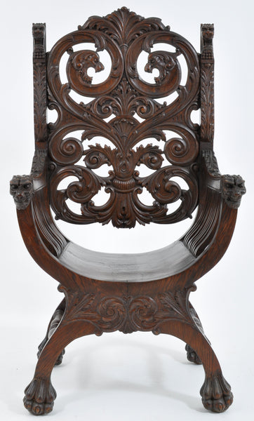 Antique American Robert Mitchell High Back Mahogany Arm Chair, Circa 1902