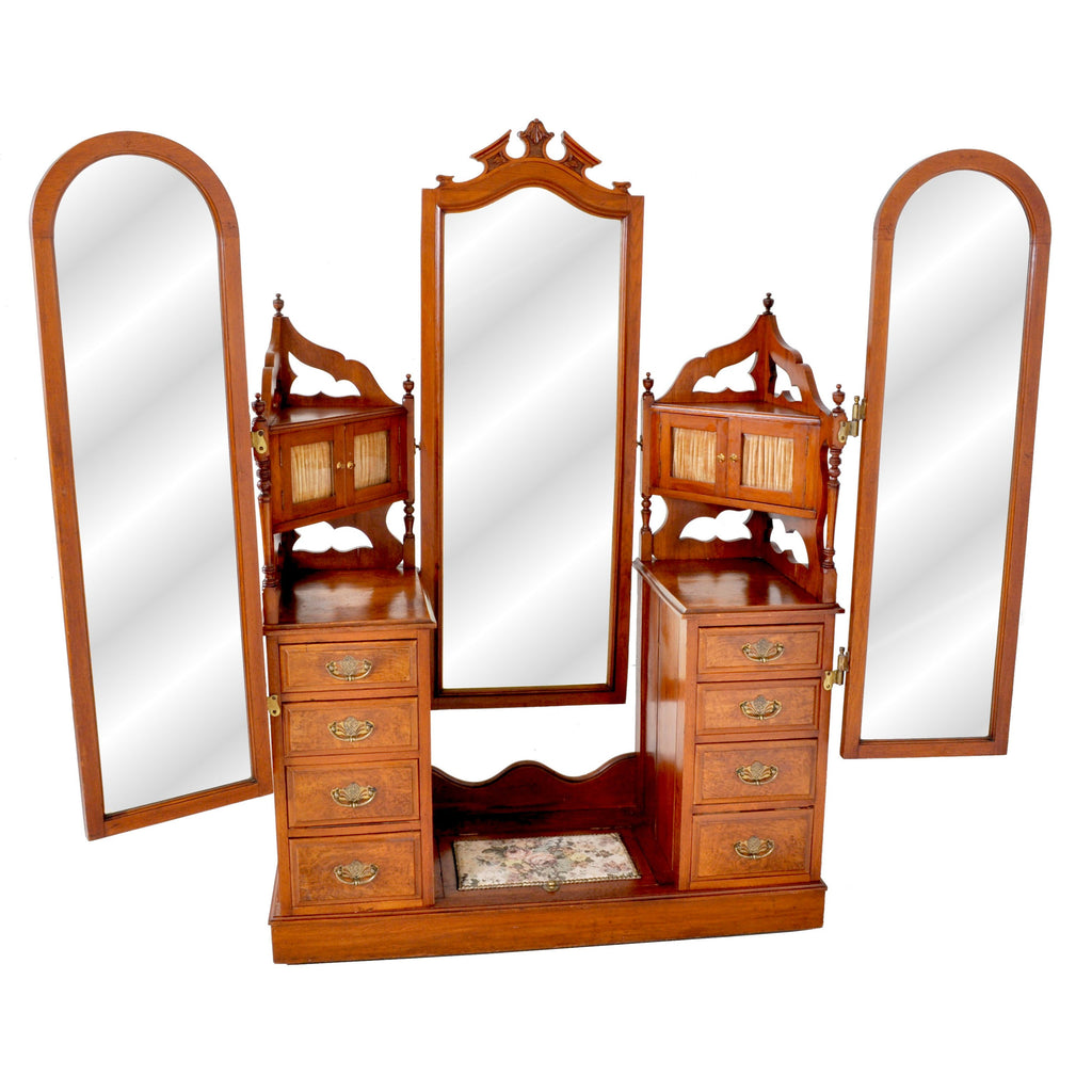 Antique Victorian Walnut Triple Mirror Twin Pedestal Dressing Table / Princess Vanity Chest, circa 1870