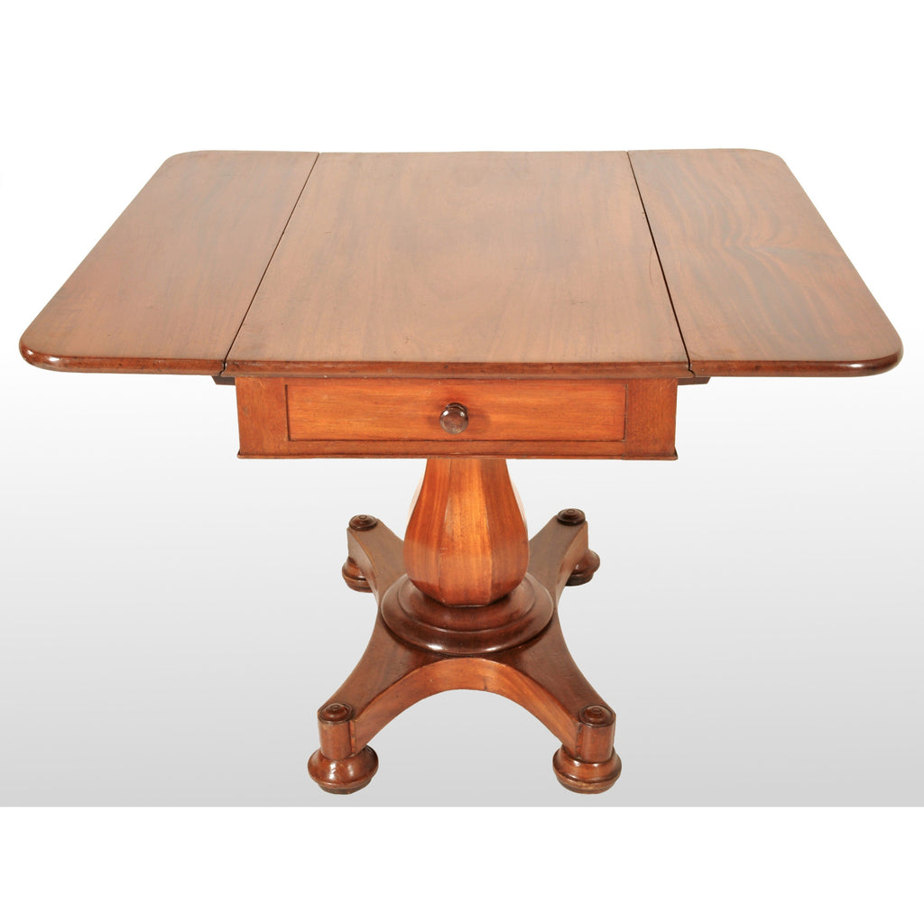 Antique American Classical Mahogany Drop Leaf Pedestal Pembroke Table by John Needles of Baltimore, circa 1840