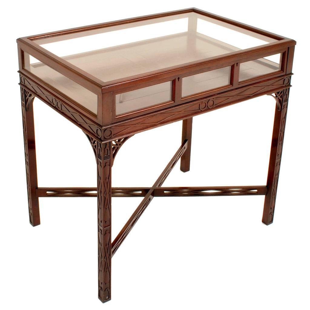 Antique Edwardian George III Chinese Chippendale Style Bijouterie Table / Vitrine / Display Case, Circa 1900