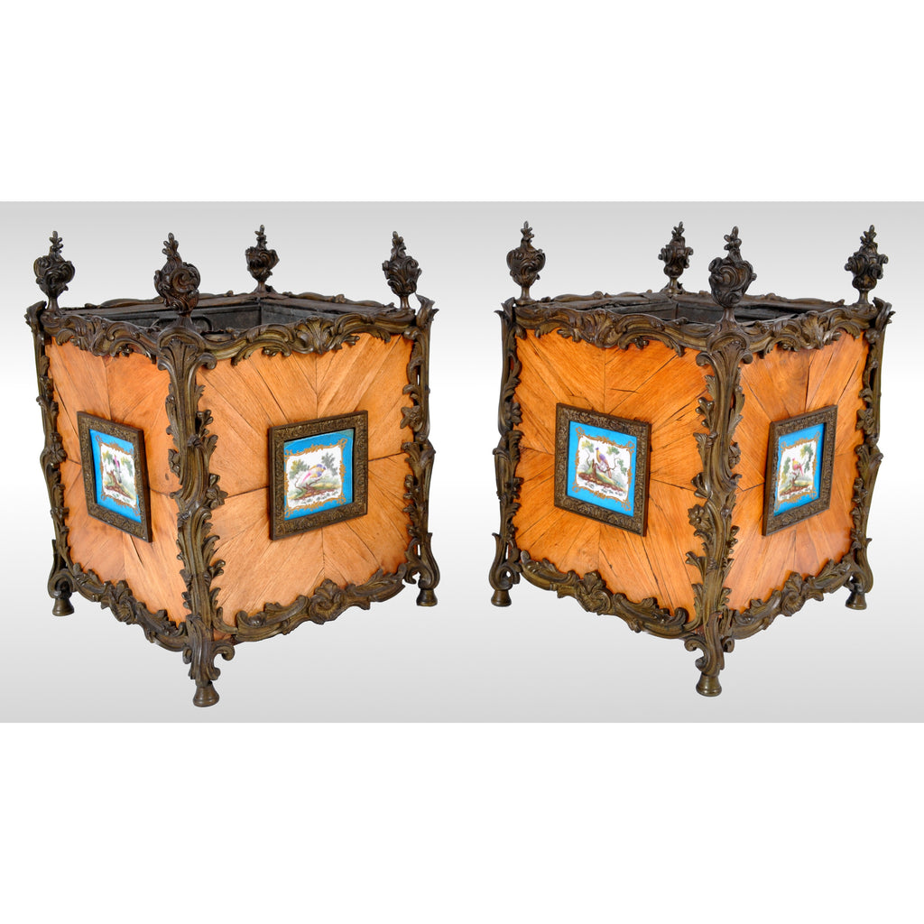 Pair of Antique French Louis XV Tulipwood and Sèvres Porcelain Jardinieres / Planters, circa 1870