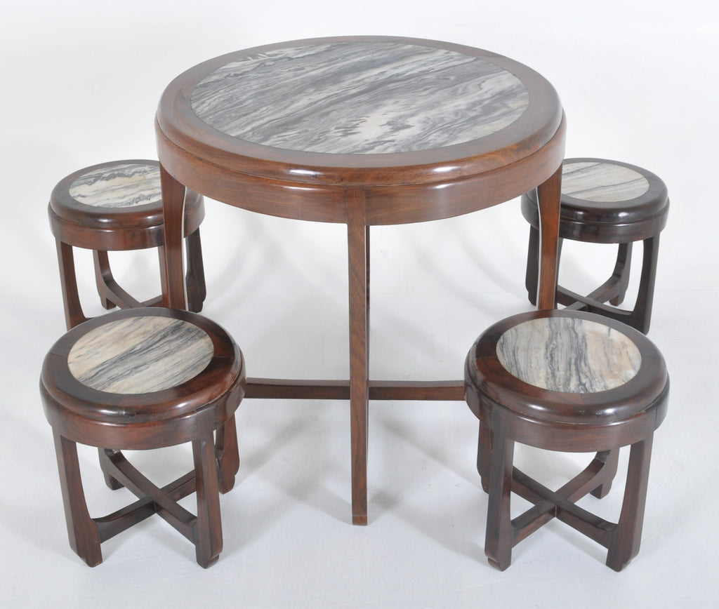 Antique Chinese Art Deco Rosewood & Marble Table Set, Circa 1925