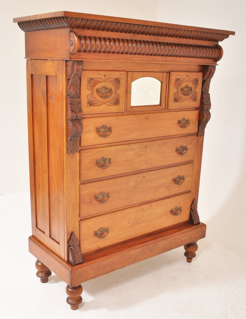 Antique Scottish Tall Walnut Chest of Drawers/Dresser, Circa 1870