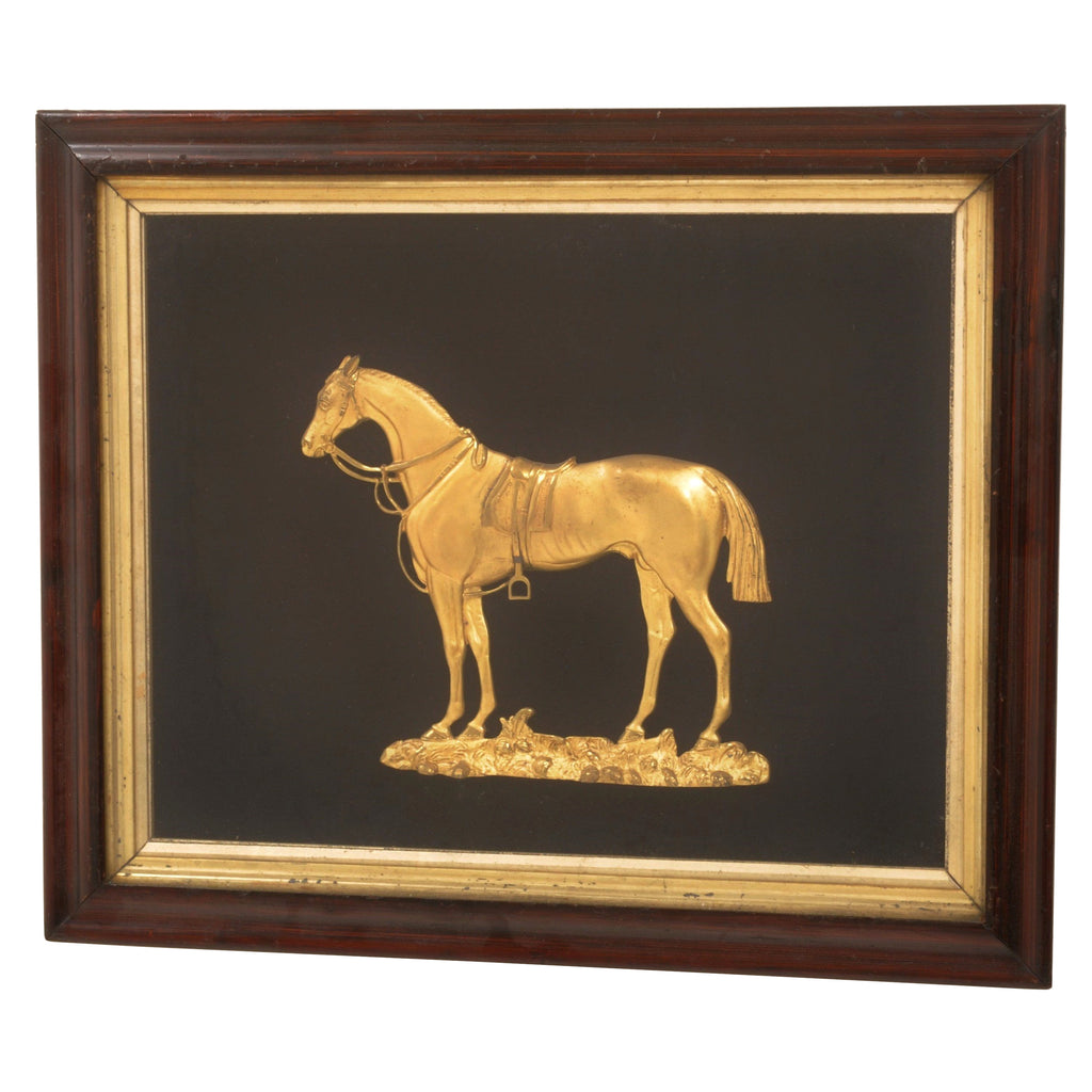 "Antique English Gilt Bronze Plaque/Diorama of ""Faugh-a-Ballagh,"" Circa 1870"