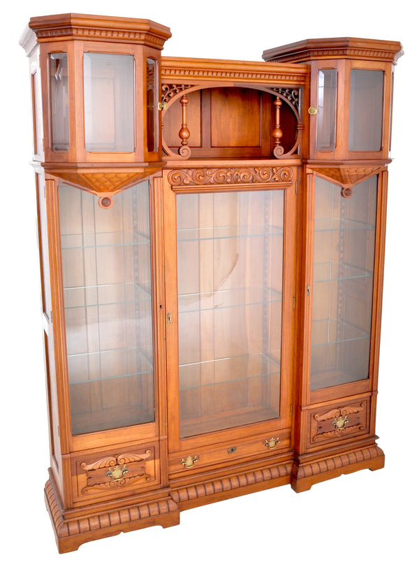 Antique American Eastlake Walnut Breakfront Bookcase / Hutch / Cabinet, Circa 1890