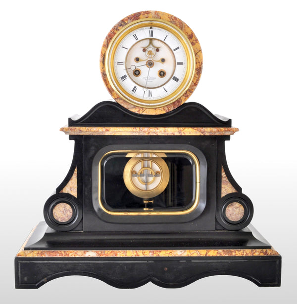 Antique 8-Day Marble & Slate Mantel Clock by Henri Marc of Paris, circa 1870