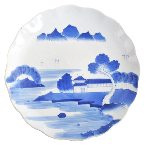 Antique Japanese Meiji Period Blue & White Imari Plate, Circa 1900