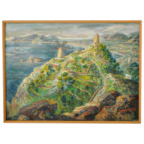 Antique Impressionist Painting of Ibiza by the American Artist Martin Baer (1894-1961), 1935