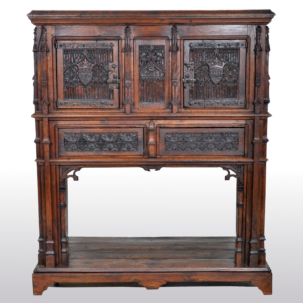 Antique French Gothic Oak Chalice Court / Cabinet / Sideboard, circa 1860