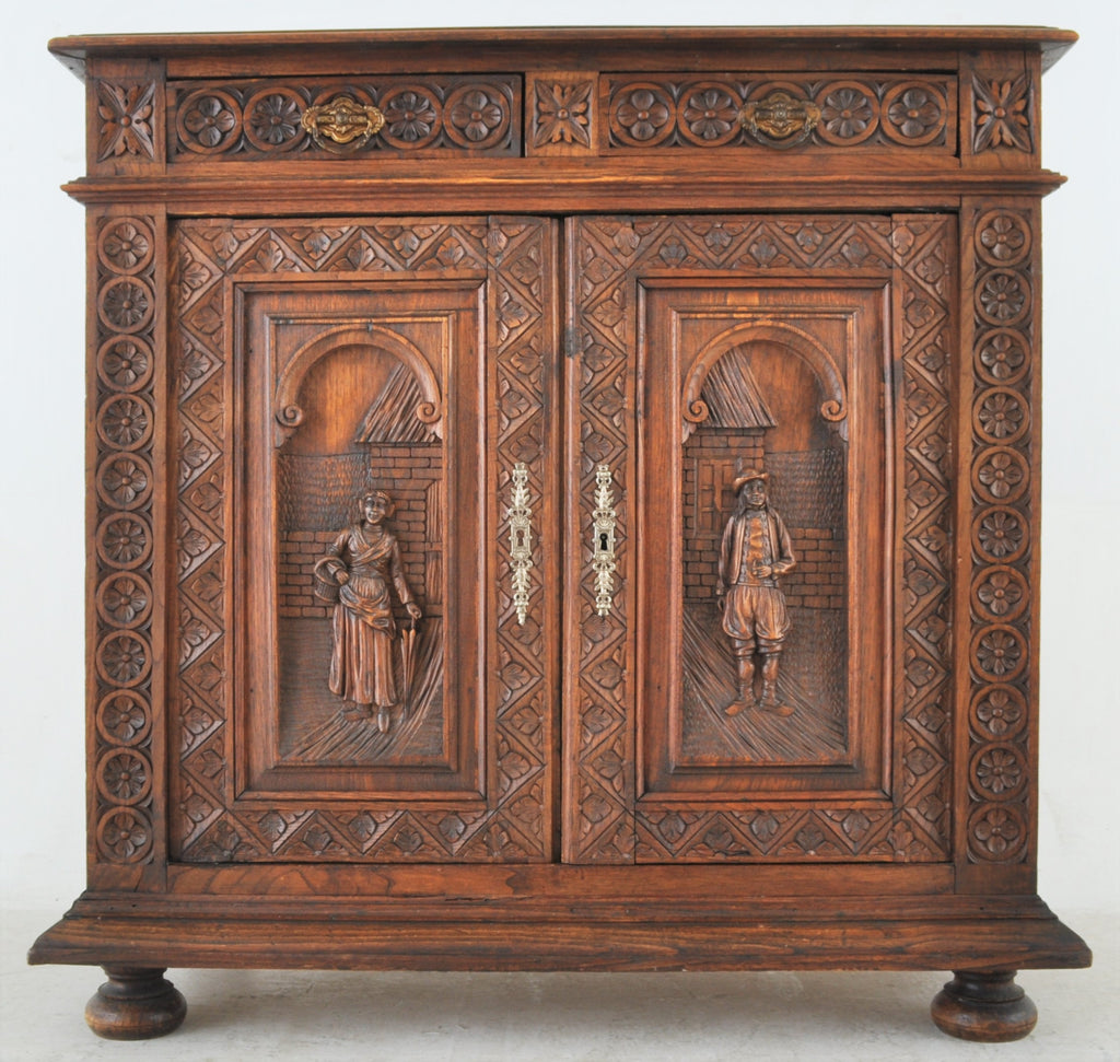Antique French Brittany Carved Oak Side Cabinet, Circa 1890