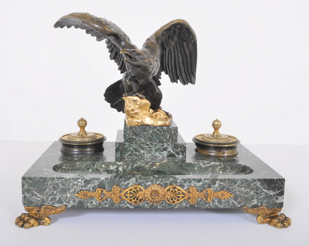 Antique Imperial Pre-Revolution Marble and Gilded Bronze Russian Desk Stand, Circa 1870