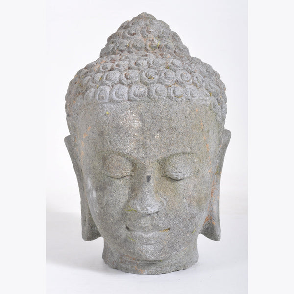 Antique 16th Century Chinese Ming Dynasty Carved Stone Head of Buddha Sculpture