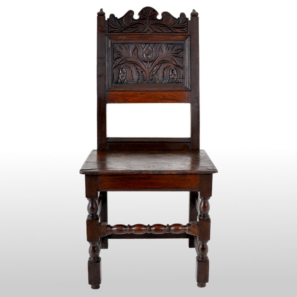 Antique 17th Century English Jacobean Carved Oak Joined Chair, circa 1640