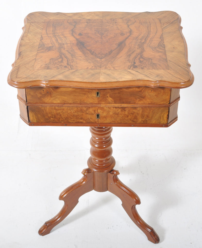 Antique American Walnut Pedestal Work/Sewing Table, Circa 1860