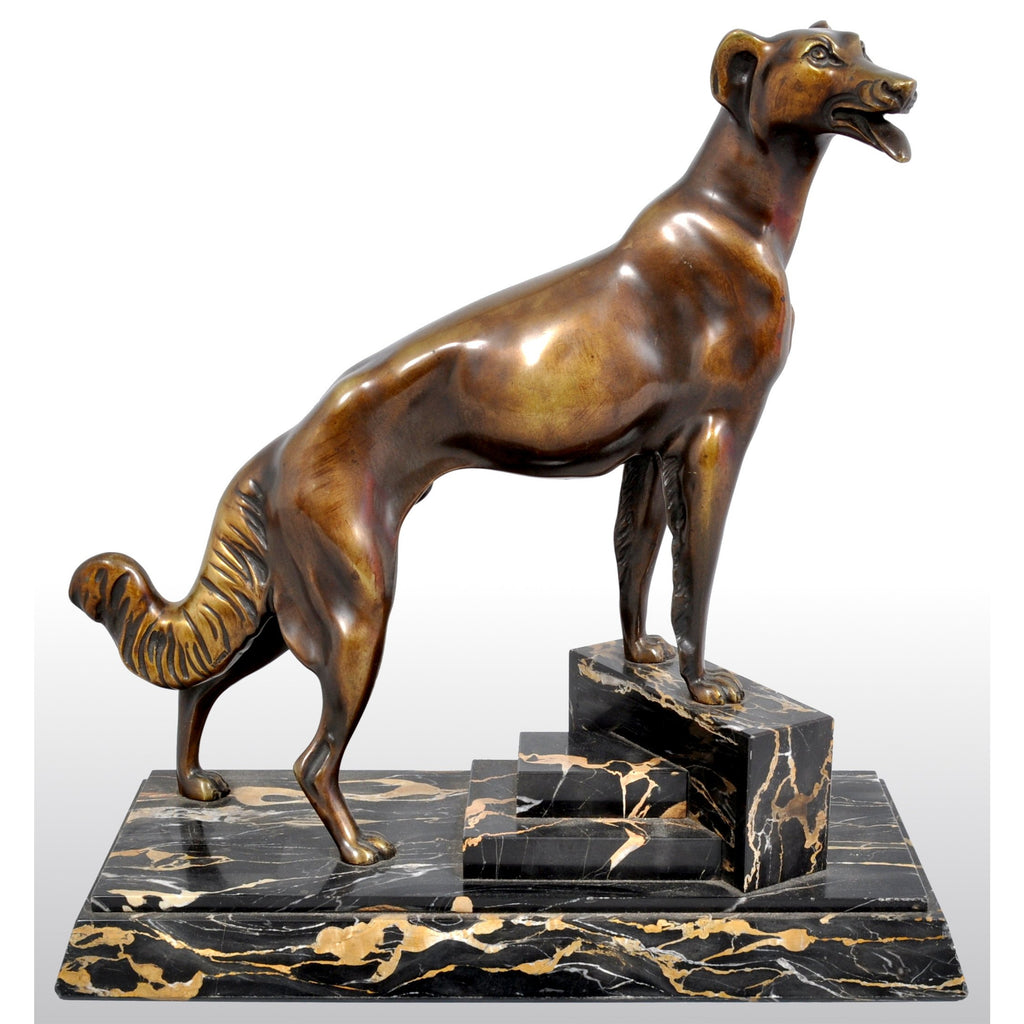 Antique Art Deco Bronze Russian Borzoi/Wolfhound/Dog by Louis-Albert Carvin (1875-1951)