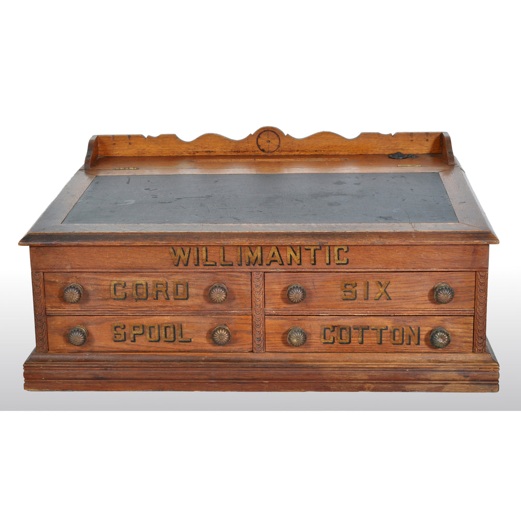 Antique American Oak Mercantile Country Store Desk Spool Cabinet, Willimantic, circa 1890