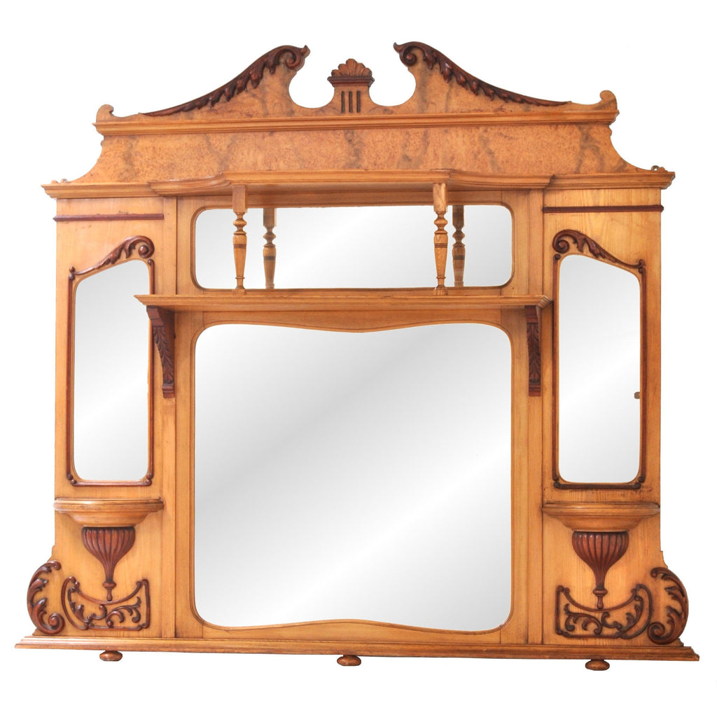 Antique American Neo-Classical Walnut & Ash Overmantel Mirror, circa 1870