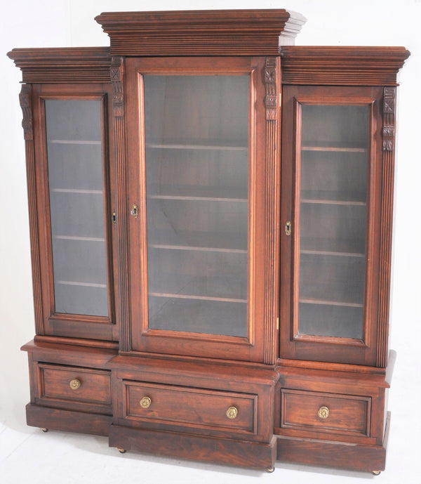 Antique American Eastlake Walnut Breakfront Bookcase, Circa 1875
