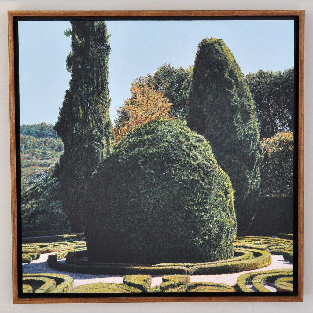 """Parterre at Casa de Mateus,"" Acrylic on Paper over Wood Panel, Tom Fawkes (1941- ), 2007"
