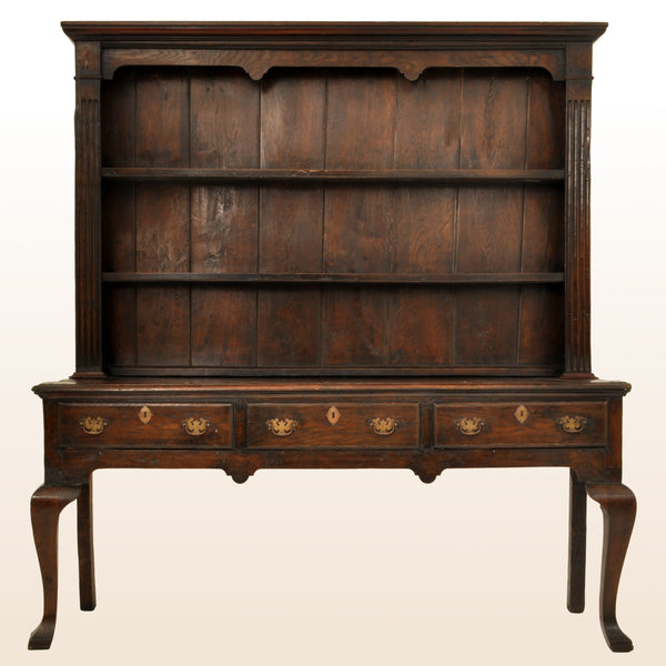 Antique Georgian George III Oak Welsh South Wales Dresser With Plate Rack, circa 1780