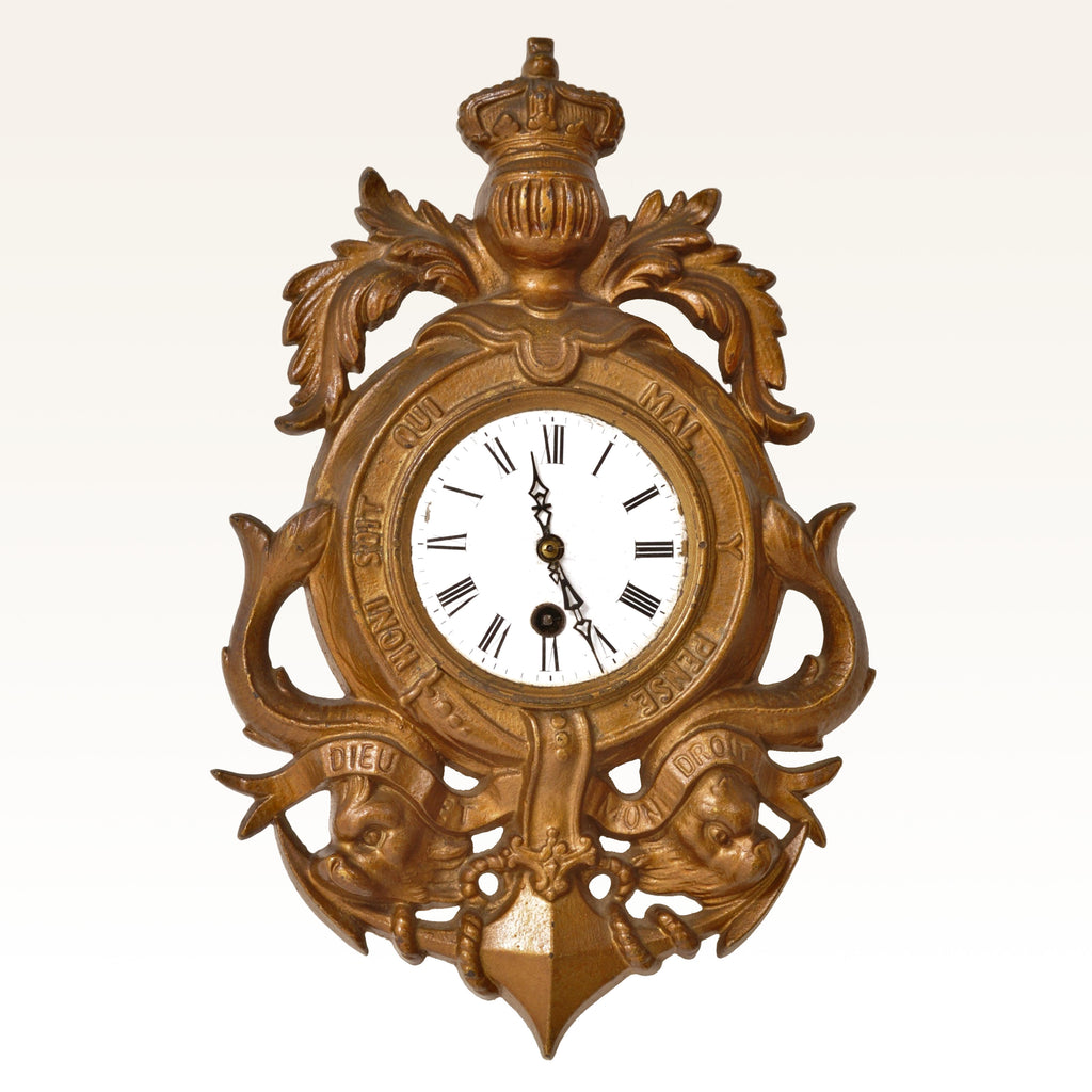 Antique 8-Day Cartel Wall Clock Royal Coat of Arms, Circa 1890