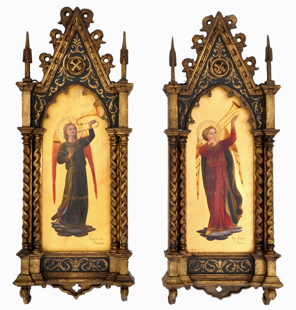 Pair of Antique 19th Century Italian Florentine Painted Gothic Renaissance Panels by Olga Ciardi, circa 1850