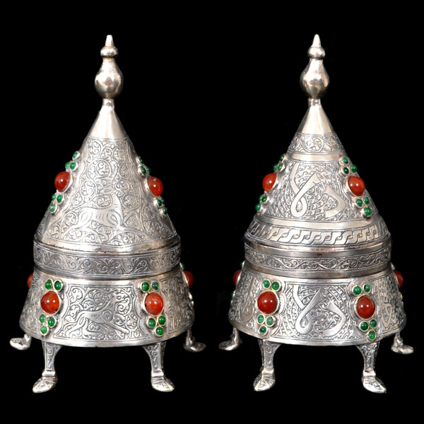 Pair of Antique Islamic Qajar Period Arabic Persian Silver and Carnelian Boxes, circa 1880