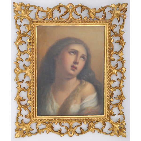 "Antique Italian Grand Tour Oil on Canvas painting, ""Mary Magdalene,"" by Achille Leonardi (Italian, 1800-1870), Circa 1840"