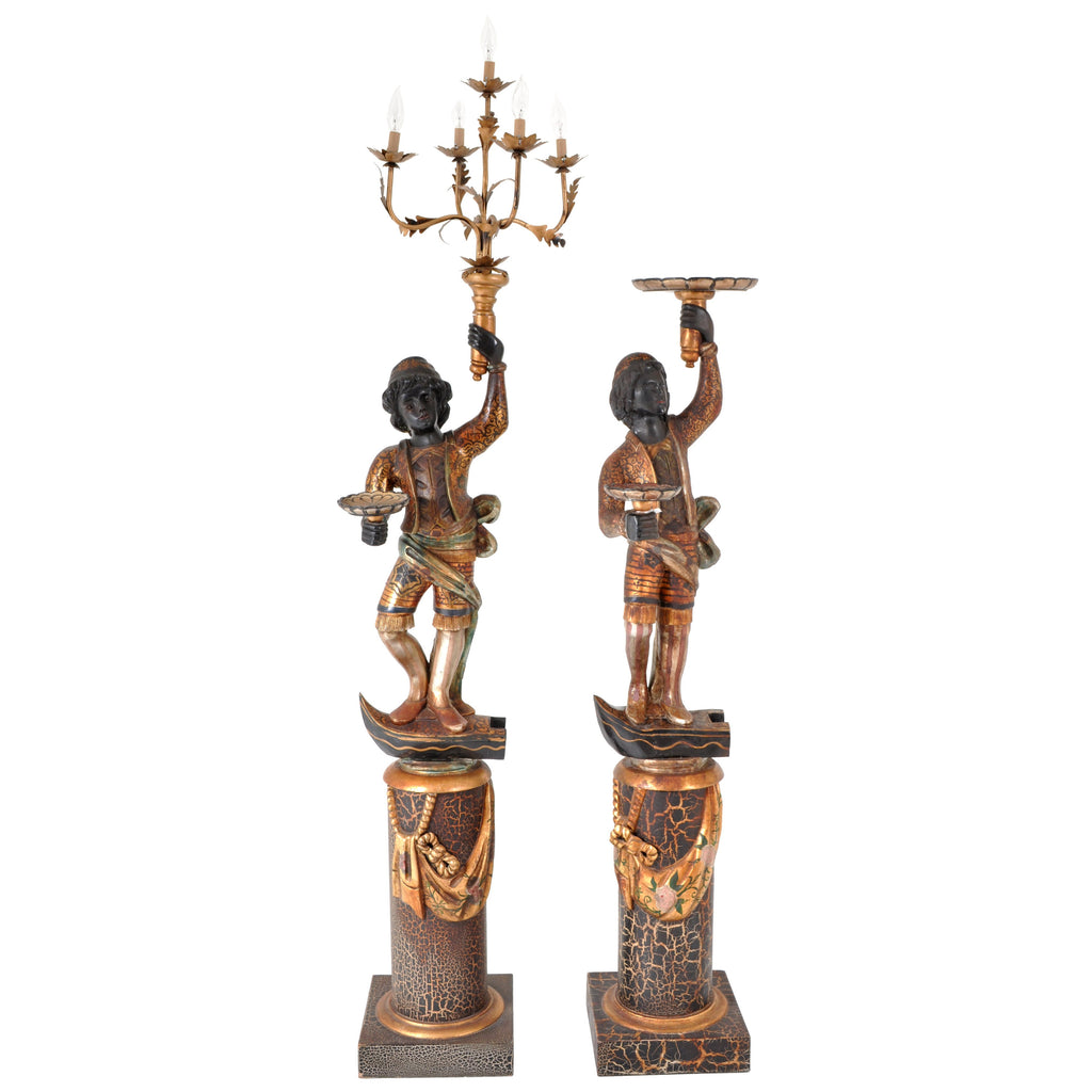 Pair of Antique Italian Venetian Blackamoors / Figures / Statues / Candelabra, circa 1920