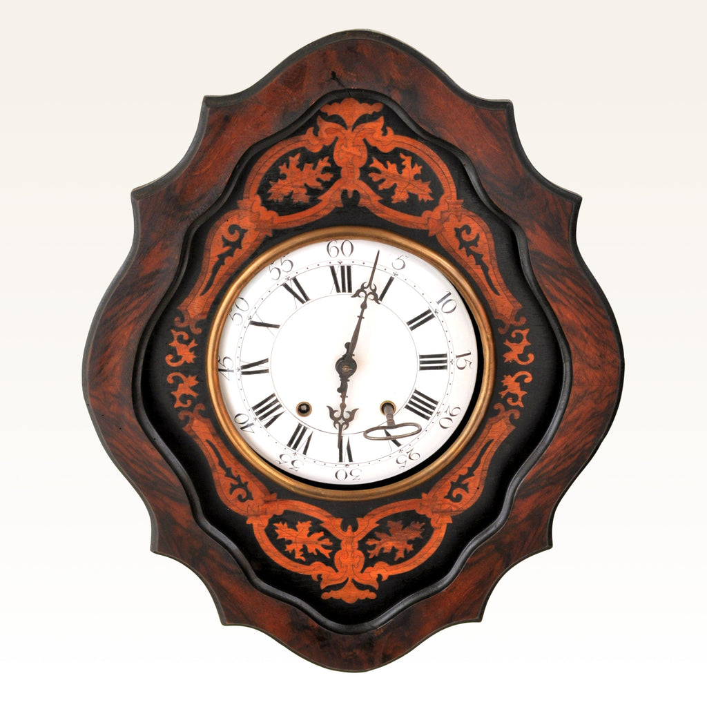 Antique French 8-Day Inlaid Wall Clock, Circa 1870