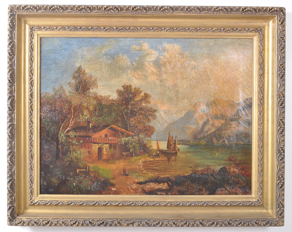 Antique 19th Century Swiss Oil on Canvas Landscape Scene, Circa 1850