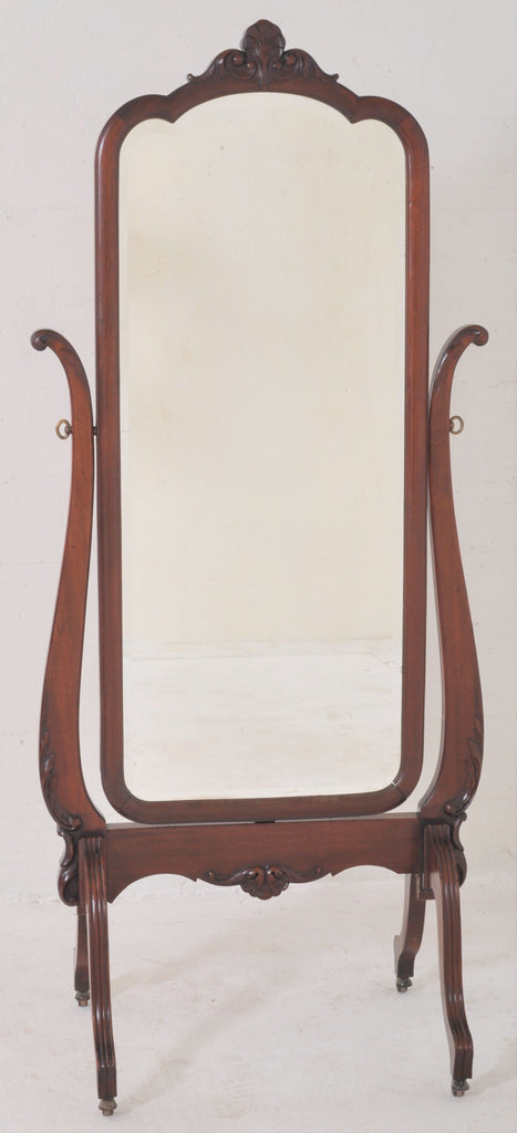 Antique Victorian Cheval Mahogany Swing Dressing Mirror, Circa 1890