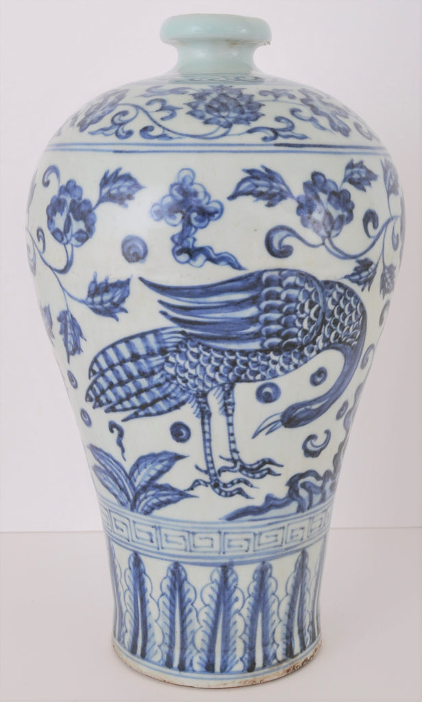 Antique Chinese Qing Dynasty Blue & White Porcelain Meiping Shaped Vase, Circa 1880