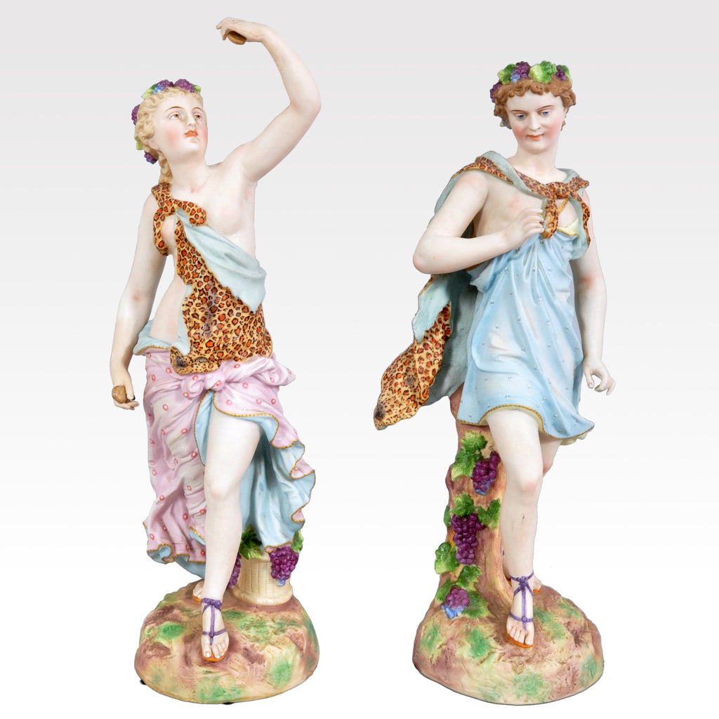 Fine and Large Pair of Antique Continental Porcelain Bisque Figurines of Adam and Eve, Circa 1870