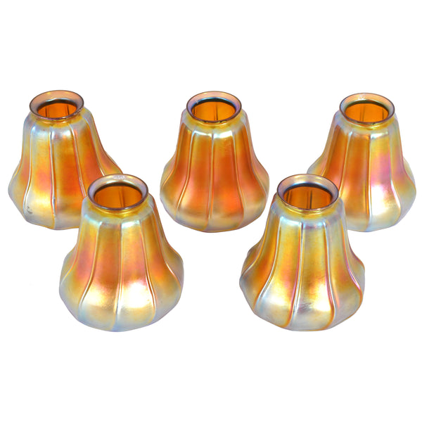 Set of 5 Antique American Steuben Art Nouveau Gold Aurene Glass Lamp Shades, circa 1910