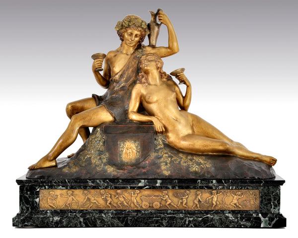 Antique French Art Deco Neo-Classical Bronze Figural Group, Joseph Descomps (1872-1948), Circa 1930