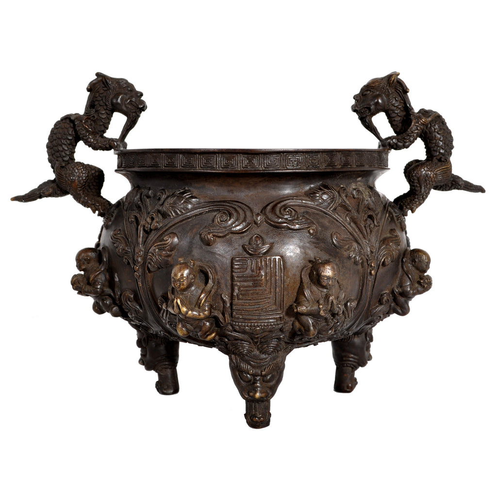 Antique Chinese Bronze Qing Dynasty Buddhistic Dragon Censer / Incense Burner, circa 1800