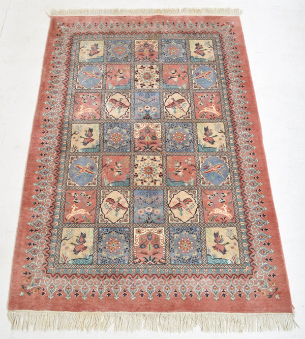Hand-Woven Persian Tribal Rug with Garden Design