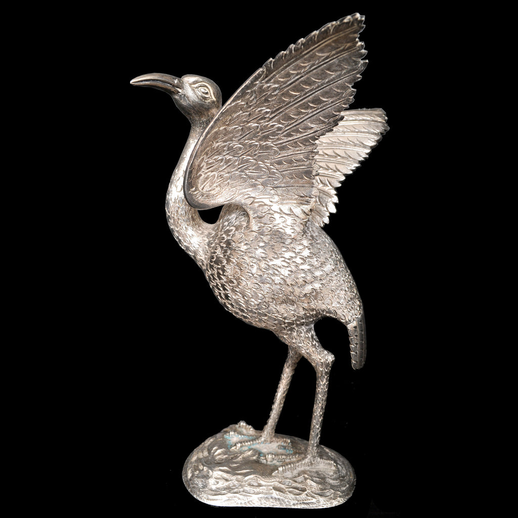 Antique Chinese Engraved Sterling Silver Bird / Heron Sculpture / Statue / Figure, circa 1920