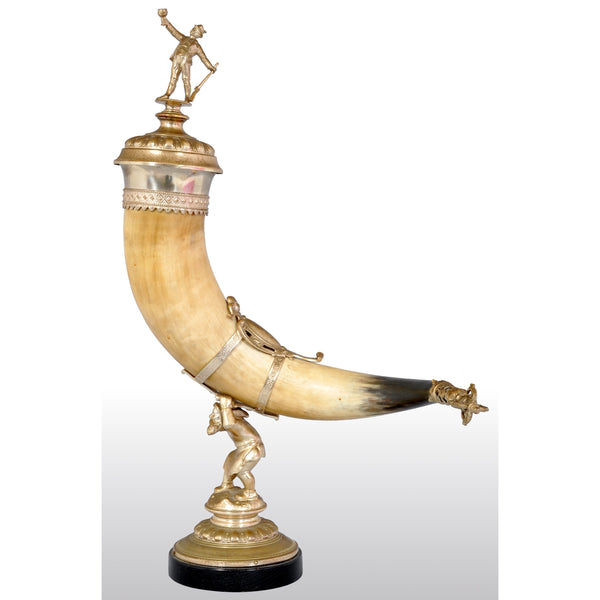 Antique Austrian Gilded Bronze Hunting Horn/Cornucopia, circa 1880