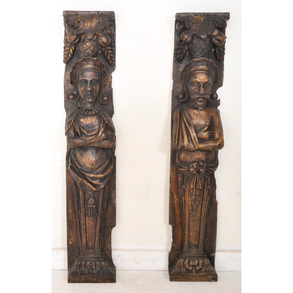 Pair of Carved 17th Century Style Figural Oak Brackets