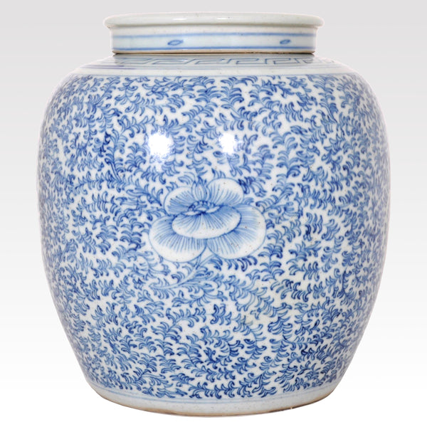 Antique Chinese Qing Dynasty Blue & White Porcelain Ginger Jar, Circa 1850