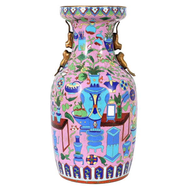Large Antique Chinese 'Hundred Treasures' Cloisonne Vase, Republic Period, circa 1920