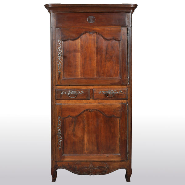 Antique French Provincial Louis XV Fruitwood Bonnetiere / Armoire / Cabinet, circa 1770