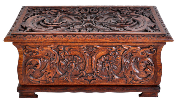 Antique Arts & Crafts Carved Oak Coffer, circa 1900