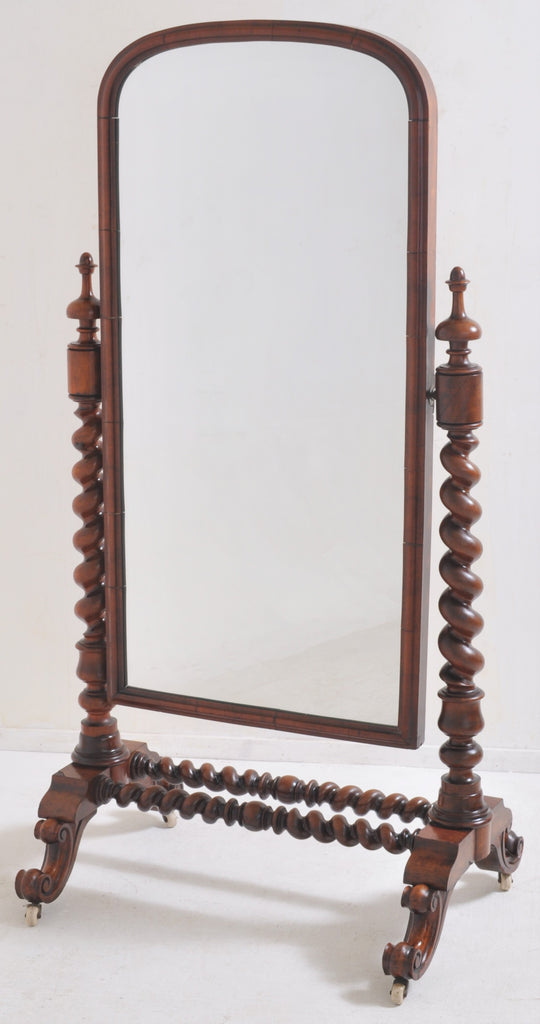 Antique English Mahogany 'Barley-Twist' Cheval/Dressing Mirror, Circa 1860